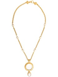 Chanel Vintage Embellished Pendant Necklace Metallic