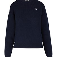 Celine Ribbed Round Neck Wool Jumper Navy