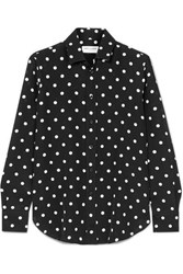 Saint Laurent Polka Dot Silk Shirt Black