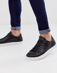 Selected Homme Leather Trainer With Contrast Sole In Black