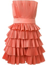 Capucci Strapless Pleated Dress Pink And Purple