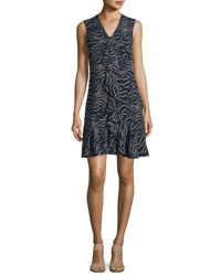 Derek Lam Sleeveless Cascade Ruffle Silk Dress Navy