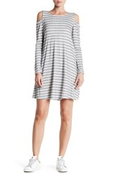 Bobeau Long Sleeve Striped Cold Shoulder Dress White