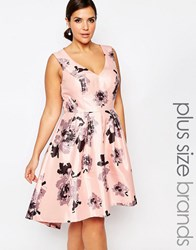 Chi Chi Plus Chi Chi London Plus Plunge Front High Low Midi Dress In Floral Print Multi