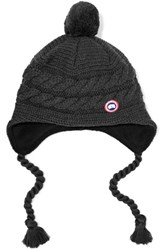 Canada Goose Maple Cable Knit Merino Wool Beanie Charcoal