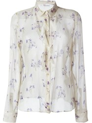 Red Valentino Semi Sheer Wisteria Button Down Shirt Nude And Neutrals