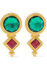 Ben Amun Gold Tone Crystal Clip Earrings Gold