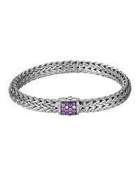 Classic Chain 7.5Mm Medium Braided Silver Bracelet Amethyst John Hardy Purple