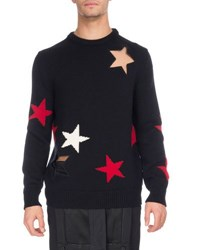 Givenchy Star Cutout And Intarsia Wool Crewneck Sweater Black