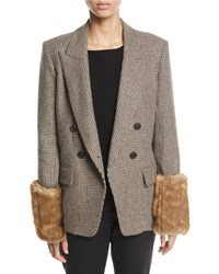 Veronica Beard Fahey Houndstooth Dickey Jacket With Faux Fur Cuffs Brown