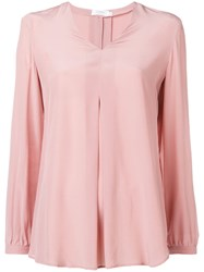Barba V Neck Blouse Pink And Purple