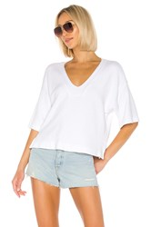 Enza Costa French Terry Easy V Neck Top White
