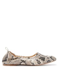A.P.C. Rosa Python Embossed Leather Ballet Flats White Multi
