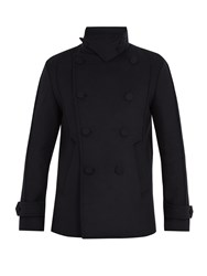 Wooyoungmi Funnel Collar Wool Blend Pea Coat Navy