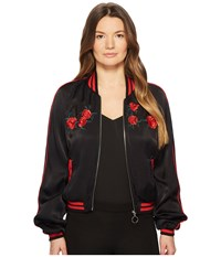 The Kooples Satin Viscose Blouse Jacket With Embroidery Black Coat
