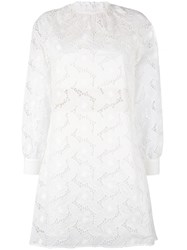 Blugirl Broderie Anglaise Shift Dress Women Cotton Polyamide Polyester 38 White
