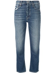 Mother Tomcat Cropped Jeans Blue