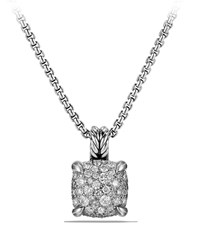 David Yurman Chatelaine Silver Pave Diamond Pendant Necklace Ssadi