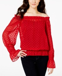 Xoxo Juniors' Chevron Burnout Off The Shoulder Ruffle Blouse Red