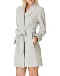 Kate Spade Brushed French Terry Short Robe Grey
