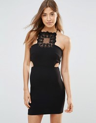 Oh My Love Mini Bodycon Dress With Lace Insert Black