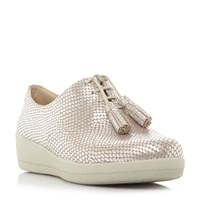 Fitflop Classic Tassel Patent Oxford Shoes Silver