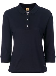 Fay Cropped Sleeved Polo Top Blue