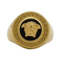 Versace Black And Gold Medusa Medallion Ring