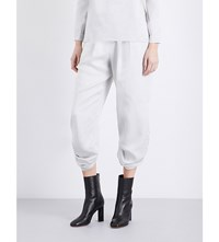 Strom Ruched Detailed Mid Rise Cropped Woven Trousers Slvr White