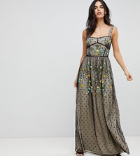 Frock And Frill Premium Folk Embroidered Structured Strap Maxi Dress Black Nude