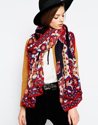 Asos Oversized Scarf With Paisley And Border Print Design Multi
