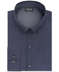Kenneth Cole Reaction Men's Fitted Techni 3 Way Flex Blue Print Dress Shirt Dark Blue
