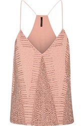 W118 By Walter Baker Kat Bead Embellished Georgette Top Blush