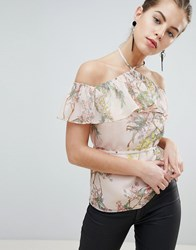 Morgan Allover Floral Frilly Cold Shoulder Top Multi