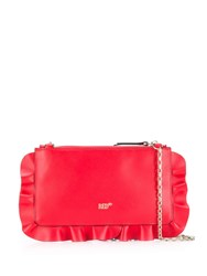 Red Valentino V Rock Ruffles Clutch Red