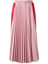 Moncler Two Tone Pleated Skirt Red