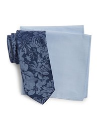 Tallia Orange Floral Silk Tie And Pocket Square Navy