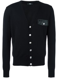 Versus Chest Pocket V Neck Cardigan Black