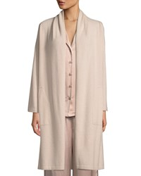 Neiman Marcus Cashmere Patch Pocket Robe Creme Brulee