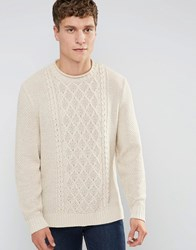 Asos Cable Knit Jumper With Side Splits Oatmeal Beige