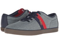 Polo Ralph Lauren Halford Blue Green Chambray Men's Lace Up Casual Shoes Gray