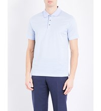 Canali Striped Cotton Jersey Polo Shirt Sky Blue