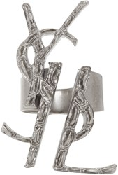 Saint Laurent Silver Deconstructed Monogram Opyum Ring