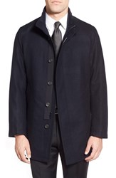 Men's Sanyo 'Rainwool' Wool Car Coat Midnight