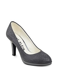 Anne Klein Lolana Snakeskin Patterned Leather Pumps Dark Grey