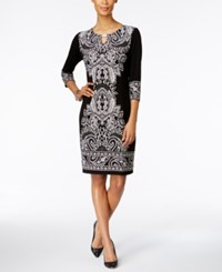 Jm Collection Petite Printed Keyhole Sheath Dress Black