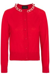 Simone Rocha Embellished Merino Wool Cardigan Red