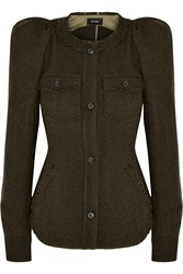 Isabel Marant Florent Herringbone Wool Tweed Jacket Green