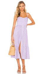 Solid And Striped Button Up Tiered Dress In Lavender. Lavender Scattered Polka Dot