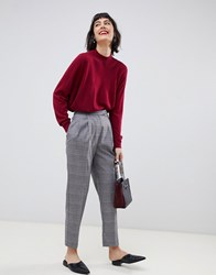 Selected Manny Check Tailored Trousers Grey